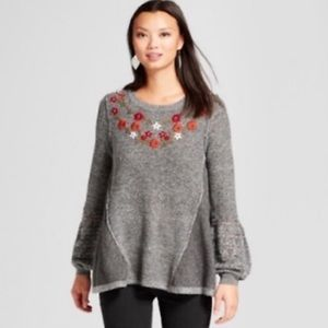 Knox Rose grey embroidered sweater